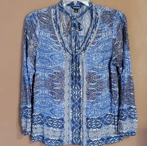 Lucky Brand  Neck Tie Front Top blue SZ M